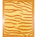 Indo Hand-tufted Rust/ Yellow Zebra Stripe Wool Rug (8' x 10')