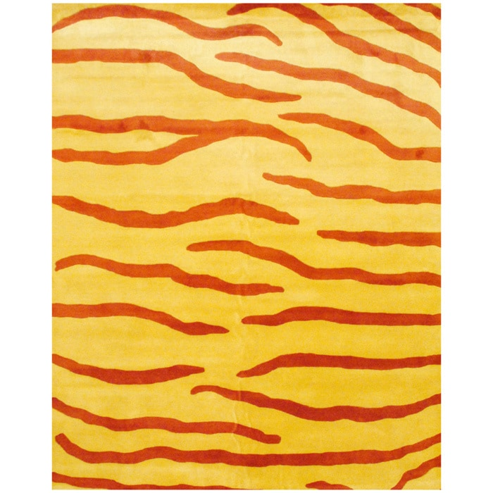 Herat Oriental Indo Hand-tufted Rust/ Yellow Zebra Stripe Wool Rug (8' x 10') at Sears.com