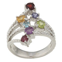 La Preciosa Sterling Silver Round-cut Multi-gemstone Ring