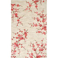 Hand-tufted White Floral Rug (2' x 3')