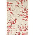 Hand-tufted White Floral Rug (5' x 7' 6)
