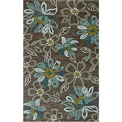 Hand-tufted Grey Abstract Rug (2' x 3')