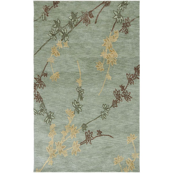 Hand-tufted Blue/ Brown Floral Rug (5' x 7'7)