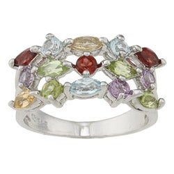 La Preciosa Sterling Silver Marquise-cut Multi-gemstone Ring