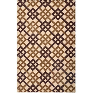 Hand-tufted Brown/ Ivory Abstract Rug (7'6 x 9'6)