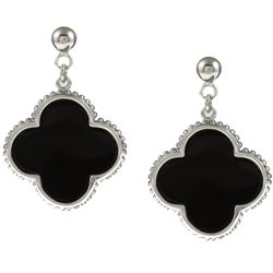 La Preciosa Sterling Silver Onyx Clover Earrings