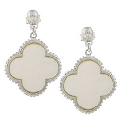 La Preciosa Sterling Silver Mother of Pearl Clover Earrings