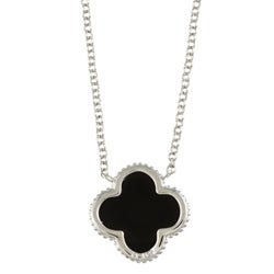 La Preciosa Sterling Silver Created Onyx Clover Necklace