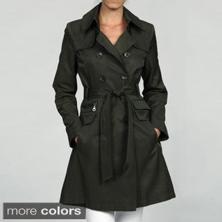 DKNY Women's Double Breasted Belted Rain Trench Coat