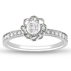 Miadora 14k White Gold 1/4ct TDW Round Diamond Ring (G-H, SI2)