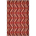 Hand-tufted Red/ Black Polyester Rug (5' x 8')
