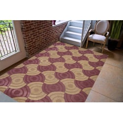 Hand-tufted Brown/ Pink Polyester Rug (5' x 8')