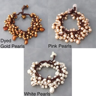 Cotton Pearl and Mother of Pearl Cluster Bracelet (4-9 mm) (Thailand)