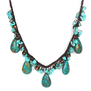 Cotton Rope Turquoise Teardrop and Pearl Necklace (6-8 mm) (Thailand)