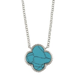 La Preciosa Sterling Silver Created Turquoise Clover Necklace