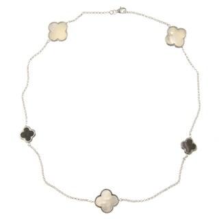 La Preciosa Silver Mother of Pearl and Abalone Clover 20-inch Necklace