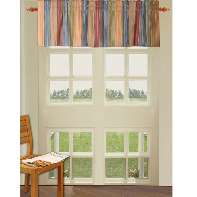 Montego Stripe Lined Scalloped Valance: Greenland Home Fashions Katy Multi Striped Quilted Valance