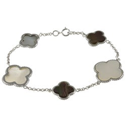 La Preciosa Silver Mother of Pearl and Abalone Shell Clover Bracelet