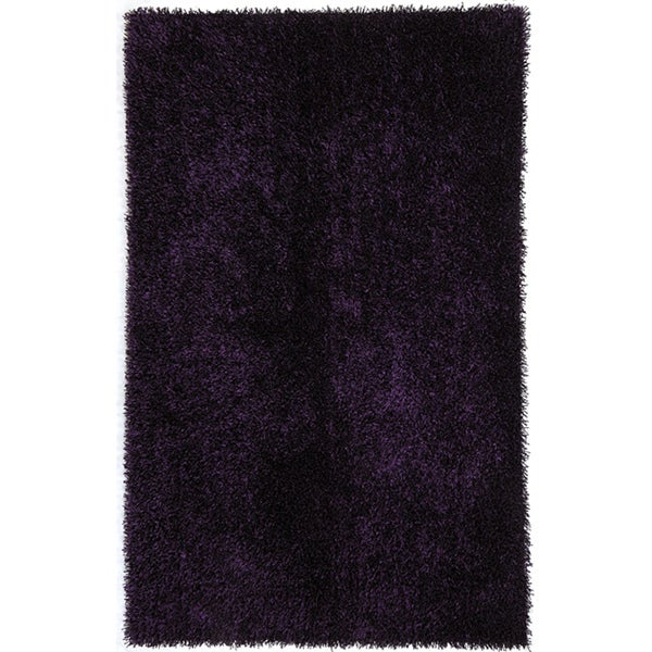 Hand-woven Purple Shag Polyester Rug (7'6 x 9'6)