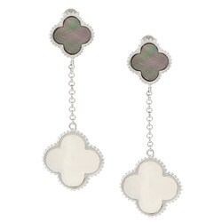 La Preciosa Sterling Silver Mother of Pearl and Abalone Shell Clover Earrings