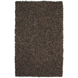 Hand-tied Pelle Dark Brown Leather Shag Rug (5' x 8')