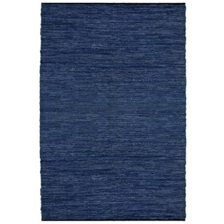 Hand-woven Matador Blue Leather Rug (8' x 10')