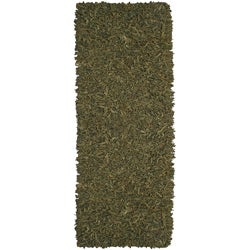 Hand-tied Pelle Green Leather Shag Rug (2'6 x 12')
