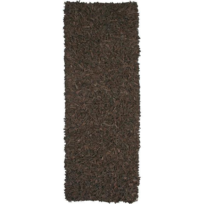 Hand-tied Pelle Dark Brown Leather Shag Rug (2'6 x 8')