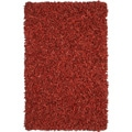 Hand-tied Pelle Red Leather Shag Rug (5' x 8')