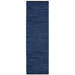 Hand-woven Matador Blue Leather Rug (2'6 x 12')