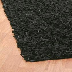 Hand-tied Pelle Black Leather Shag Rug (5' x 8')