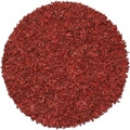 Hand-tied Pelle Red Leather Shag Rug (6' Round)