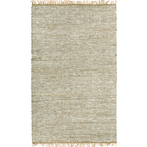 Hand-woven White Leather and Hemp Rug (9' x 12')