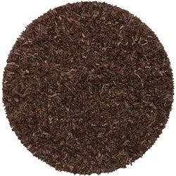 Hand-tied Pelle Dark Brown Leather Shag Rug (8' Round)