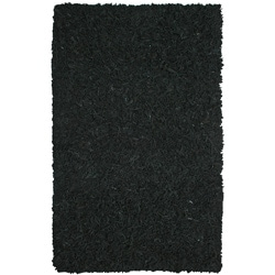 Hand-tied Pelle Black Leather Shag Rug (8' x 10')