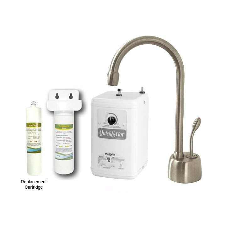 Westbrass Satin Nickel Classic Hot Water Dispenser Faucet with Under-counter Filter Kit