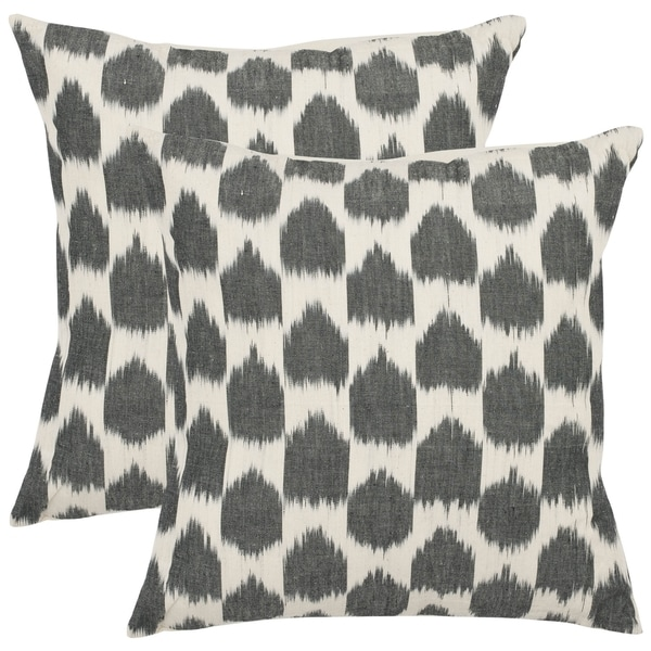 Safavieh Moments 18-inch Charcoal Grey Decorative Pillows (Set of 2)
