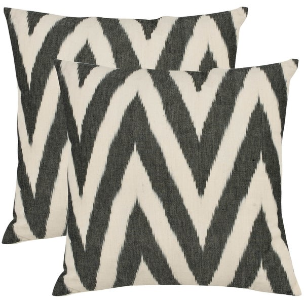 Safavieh Deco 18-inch Charcoal Grey Decorative Pillows (Set of 2)