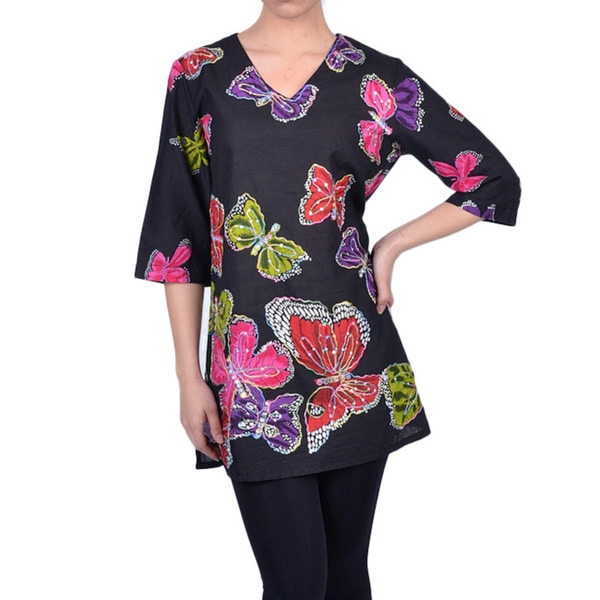 La Cera Women's Butterfly-print V-neck 3/4-sleeve Tunic Top