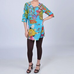 La Cera Women's Turquoise Floral Beaded Keyhole 3/4-sleeve Tunic Top