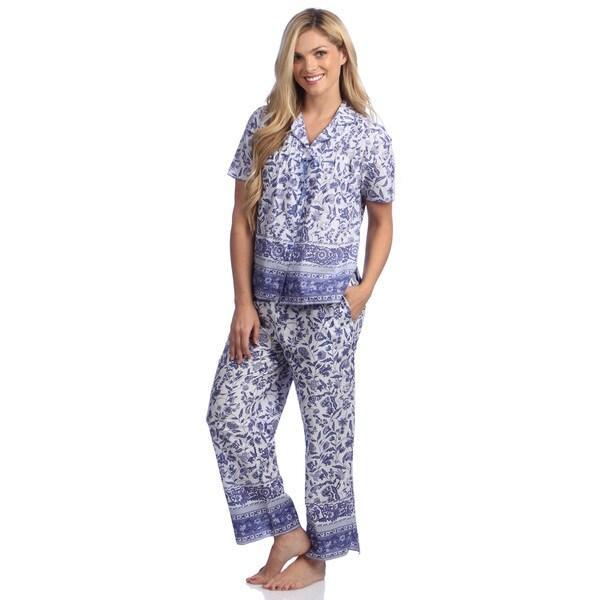 La Cera Women's Cotton Floral 2-piece Pajama Set
