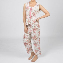 La Cera Women's Cotton Floral 2-piece Pajama Set