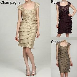 Ignite Evenings Women's Beaded Tulip Tiered Dress