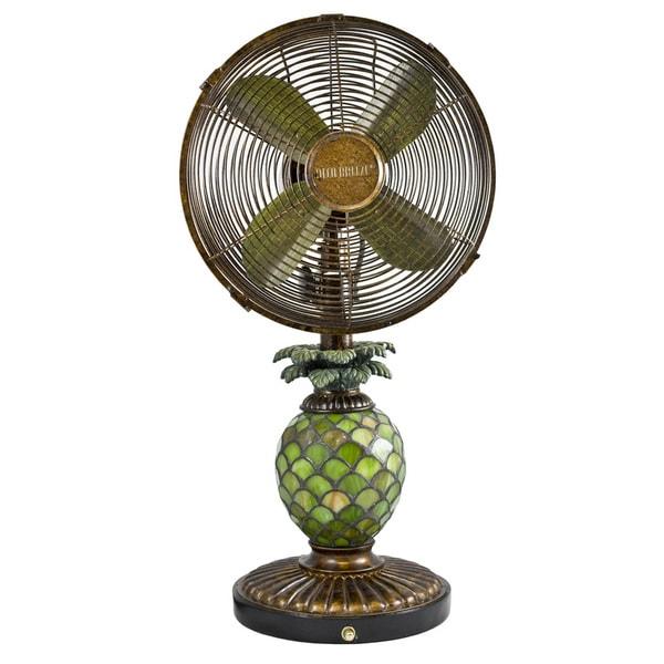 Deco Breeze DBF0247 Mosaic Glass Pineapple 10-inch Table Fan
