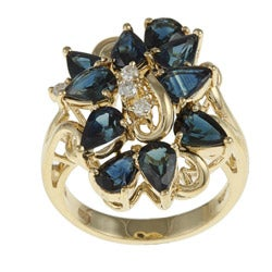 Kabella 14k Yellow Gold Sapphire and 1/8ct TDW Diamond Ring (G-H, SI1-SI2)
