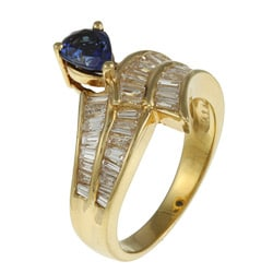 Kabella 18k Yellow Gold Sapphire and 1 2/5ct TDW Diamond Ring (H, SI1-SI2)