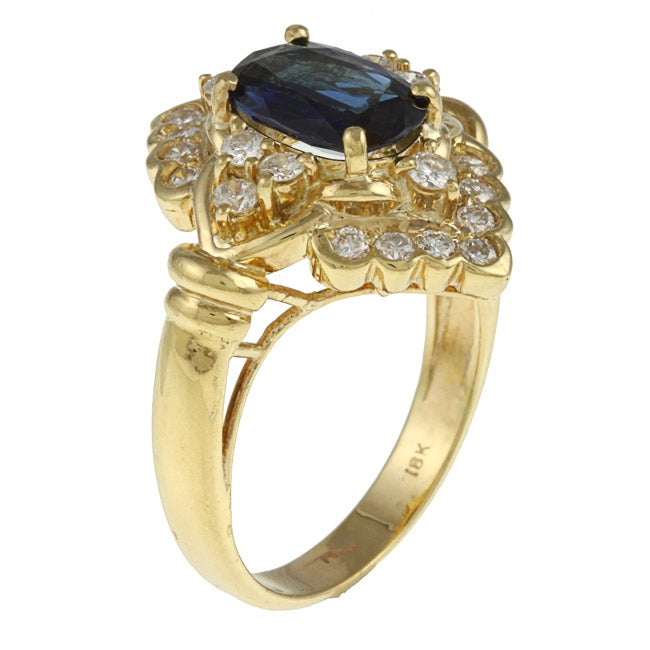 Kabella 18k Yellow Gold Sapphire and 3/4ct TDW Diamond Ring (G-H, SI1-SI2)