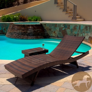 Christopher Knight Home Outdoor Brown Wicker Adjustable Chaise Lounge and Table Set