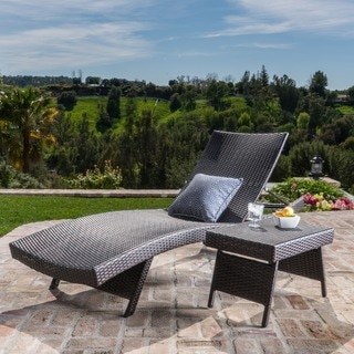 Christopher Knight Home Outdoor Wicker Adjustable Chaise Lounge and Table Set