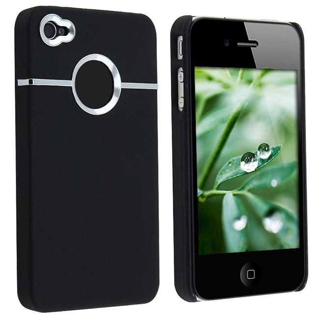 INSTEN Black/ Chrome Hole Rubber Coated Phone Case Cover for Apple iPhone 4